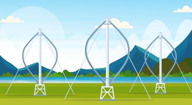 Windturbine generator propellers schoon veld alternatieve energiebron hernieuwbaar station concept natuurlijk landschap rivier bergen achtergrond horizontaal