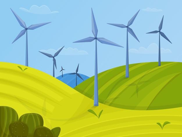 Windturbines landschap met groene velden en blauwe lucht. groen energieconcept. vector illustratie
