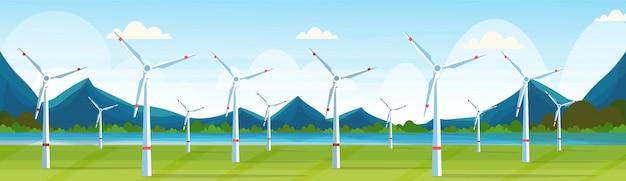 Windturbines veld schone alternatieve energiebron hernieuwbare station concept natuurlijk landschap rivier bergen achtergrond horizontale banner