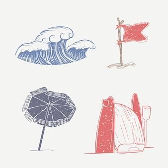 Windy strand linosnede schattige elementen collectie