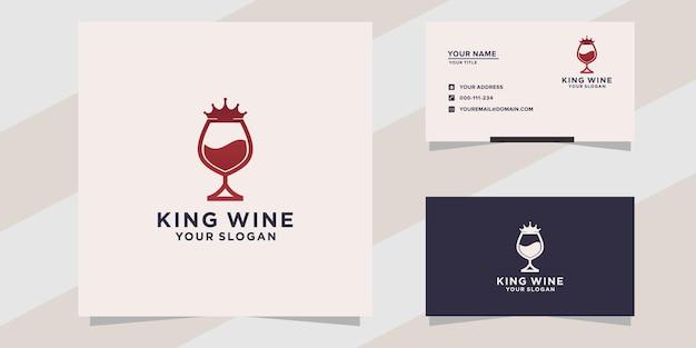 Wine king-logo en visitekaartjesjabloon