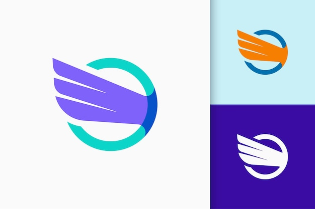 Wing-logo staat voor vrijheid en kracht voor vliegtuig- of technologiebedrijf