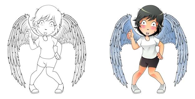 Wing man cartoon kleurplaat voor kinderen