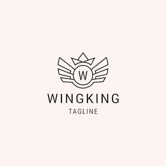 Wings koning lijn logo sjabloon