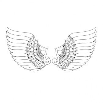 Wings mandala zentangle in lineaire stijl