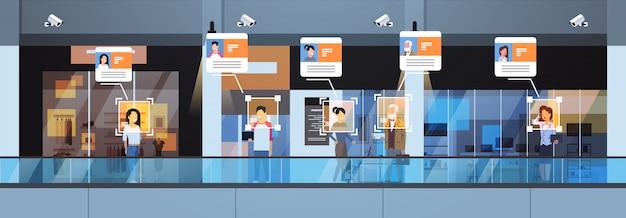 Winkel bezoekers identificatie gezichtsherkenning modern winkelcentrum interieur beveiliging camerabewaking cctv-systeem