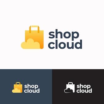 Winkel cloud abstract teken symbool of logo sjabloon papieren zak met cloud icoon en typografie winkelen een...