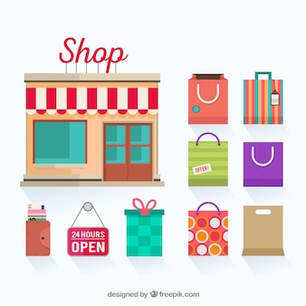 Winkel en boodschappentassen