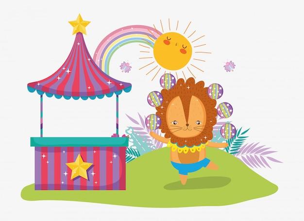 Winkel en leeuw jongleren met zon en regenboog