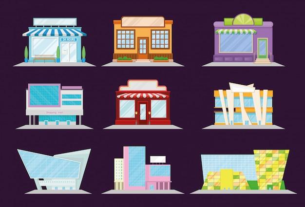 Winkel en restaurant gevel set, winkelcentrum en markt gebouw architectuur, etalage venster illustratie