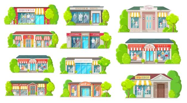 Winkel en winkel gebouwen geïsoleerde pictogrammen
