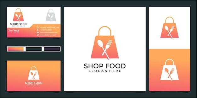 Winkel eten logo-ontwerp en visitekaartje