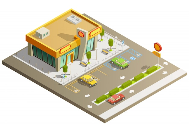 Winkel gebouw isometrisch concept