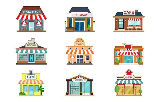 Winkel gevel restaurant winkel cafe vooraanzicht platte pictogram