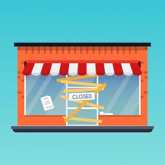 Winkel is gesloten / failliet. platte ontwerp moderne bedrijfsconcept.