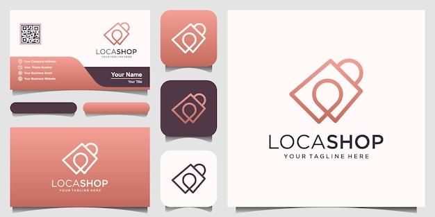 Winkel locatie logo ontwerpen sjabloon, tas gecombineerd met pinkaarten.