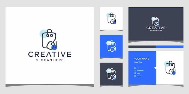 Winkel logo-ontwerp met sjabloon voor visitekaartjes