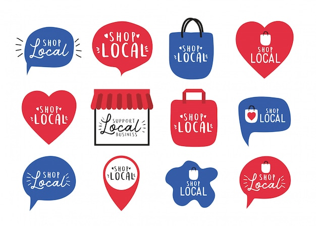 Winkel lokaal icon set ontwerp van detailhandel en marktthema