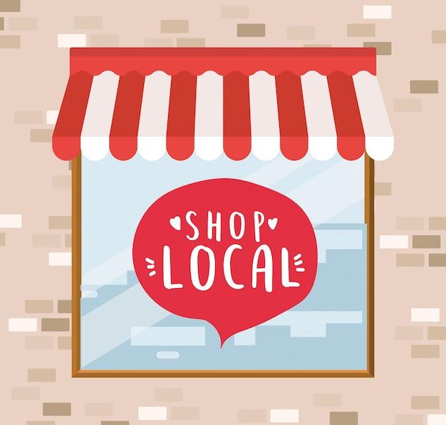 Winkel lokaal in bubbel in winkelontwerp van winkelaankoop en marktthema