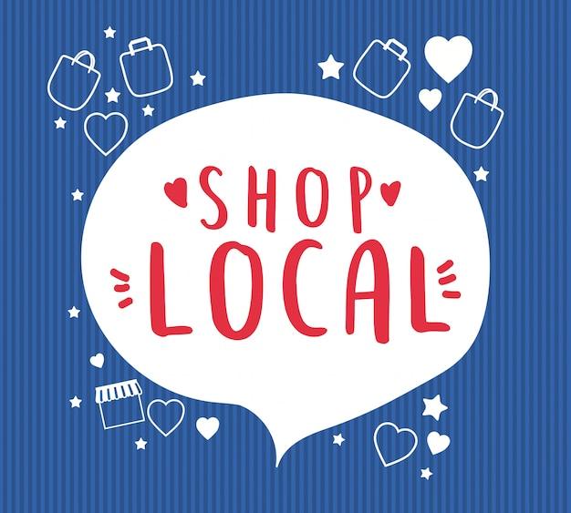 Winkel lokaal in bubbel met tassen, harten en sterrenontwerp van detailhandel en marktthema