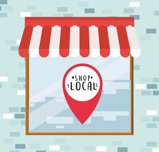 Winkel lokaal in gps-markering in winkelontwerp van winkelaankoop en marktthema
