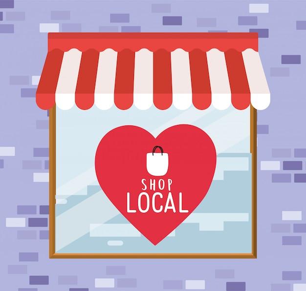 Winkel lokaal in het hart binnen winkelontwerp van detailhandel en marktthema