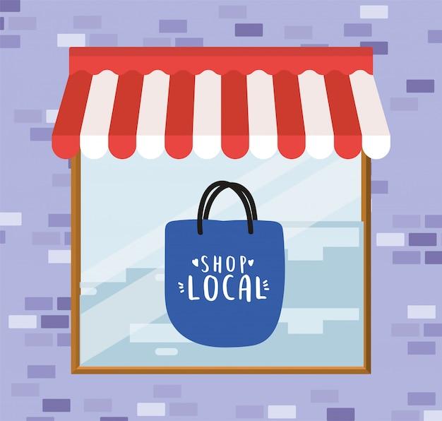 Winkel lokaal in tas in winkelontwerp met detailhandel- en marktthema