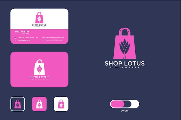 Winkel lotusbloem logo-ontwerp en visitekaartje
