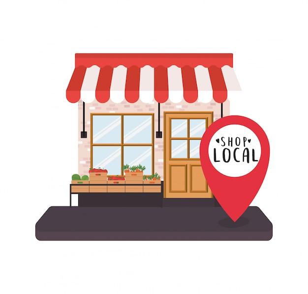 Winkel met groentenplank en winkel lokaal binnen gps markeren ontwerp van winkelaankoop en marktthema