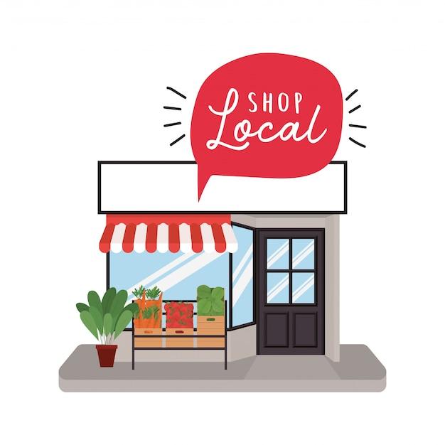 Winkel met groentenplank en winkel lokaal in bubbelontwerp van winkelkoop en marktthema