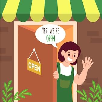 Winkel met het bord dat we open zijn