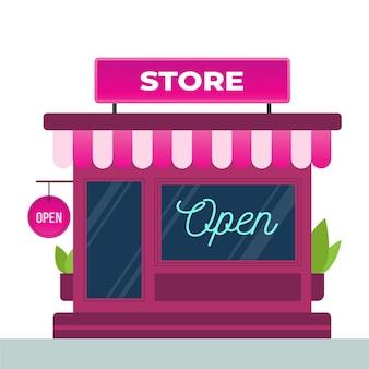 Winkel met het we are open-bord