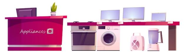 Winkel met huishoudelijke apparaten geïsoleerd op wit Gratis Vector