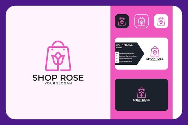 Winkel met logo-ontwerp en visitekaartje met rozenbloemlijn art