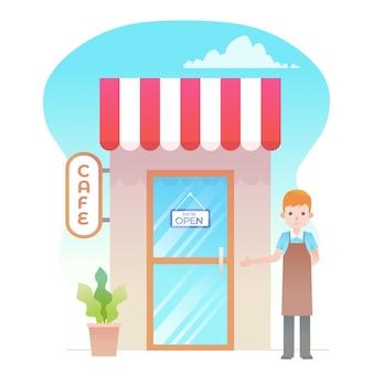 Winkel met we zijn open teken en verkoper