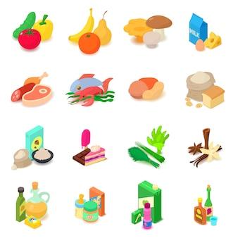 Winkel navigatie voedingsmiddelen pictogrammen instellen. isometrische illustratie van 16 het voedsel vectorpictogrammen van de winkelnavigatie voor web