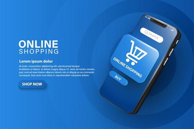 Winkel online met een smartphone-ingang om onmiddellijk in de winkelwagen te plaatsen