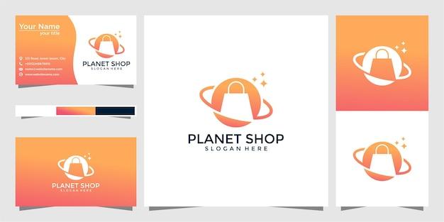 Winkel planeet logo ontwerp en visitekaartje