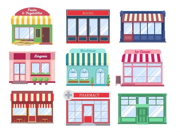 Winkel platte gebouwen. moderne winkel gevel cartoon boetiek straat gebouw etalage restaurant huizen. winkelen geïsoleerde set