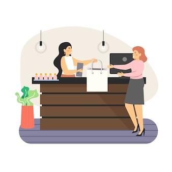 Winkel teller. gelukkige vrouw winkelen in modewinkel, vlakke afbeelding