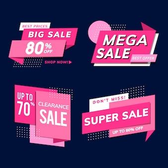 Winkel verkoop promotie advertenties vector set