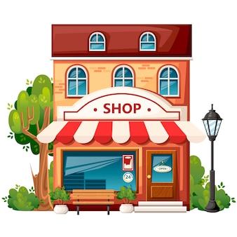 Winkel vooraanzicht. stadselementen. . winkel met open bord, bank, straatlantaarn, groene struiken en bomen. illustratie op witte achtergrond.