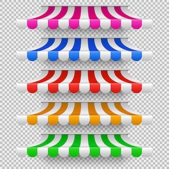 Winkel voortenttenten voor raam. openluchtmarktluifel, uitstekende opslagdak geïsoleerde vectorreeks. illustratie van tentzonnescherm, gekleurd gestreept dak voor koffie of opslagvoorzijde