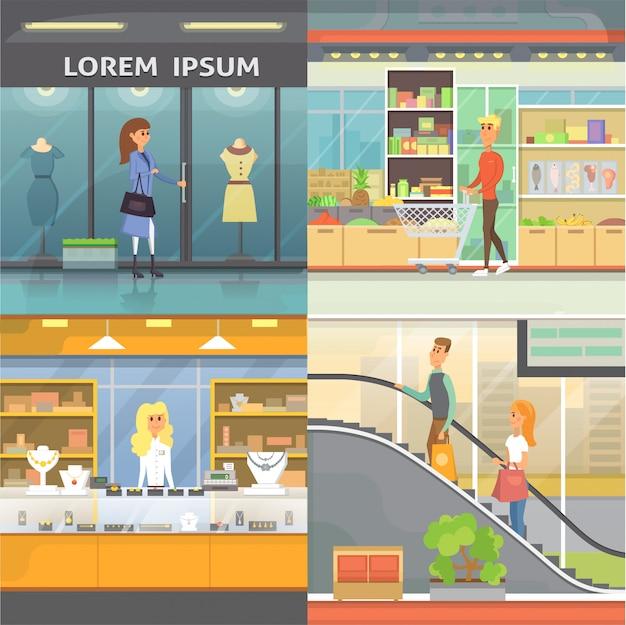 Winkelcentrum, boetiekkamers en juwelierszaak. supermarkt interieur collectie. mensen in een winkelcentrum. stel het kopen van producten cartoon illustratie
