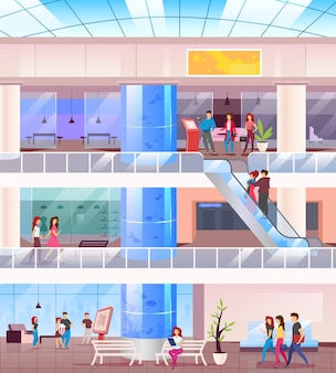 Winkelcentrum egale kleur. kopers in het centrum. supermarkt binnenshuis met mensen op recreatie. shoppers in winkels. hypermarkt 2d cartoon interieur met karakters op de achtergrond