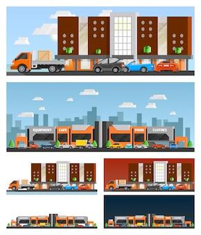 Winkelcentrum en stadssamenstellingen