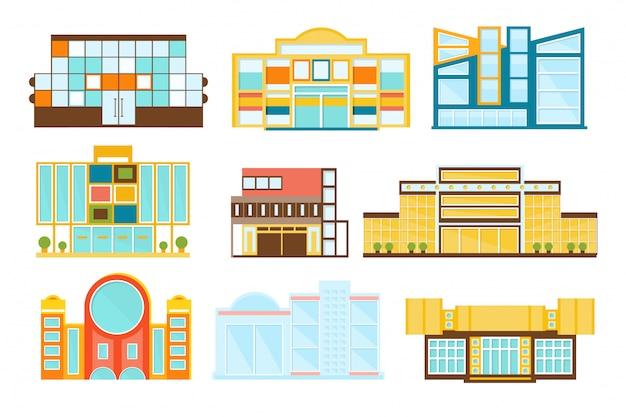 Winkelcentrum gebouwen exterieur ontwerpset