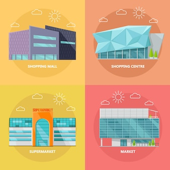 Winkelcentrum icon set in plat ontwerp
