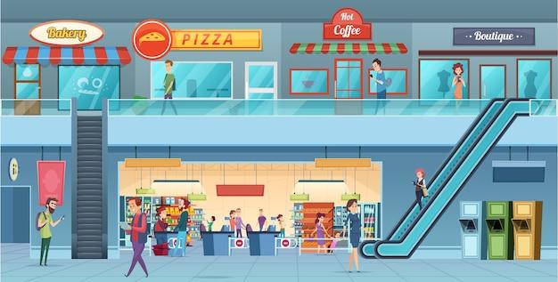 Winkelcentrum interieur. detailhandelaars hypermarkt commercieel winkelen grote zaal windows cartoon afbeelding. hypermarkt en winkelinterieur, supermarkt kruidenier