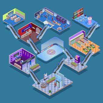Winkelcentrum isometrisch concept